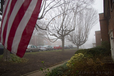 flag and fog
