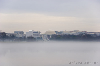 jefferson memorial, potomic and fog